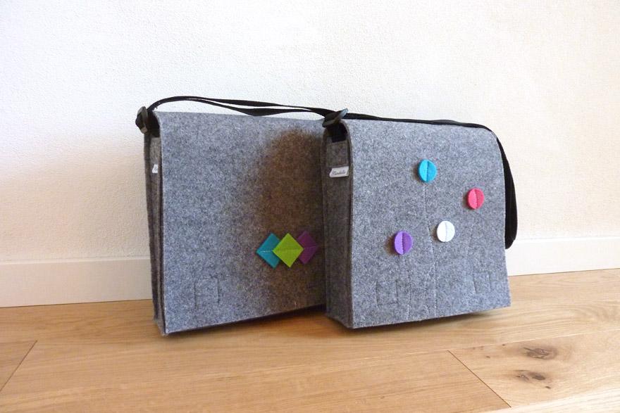 Smart&Bag Wollfilz Silbergrau-Melliert